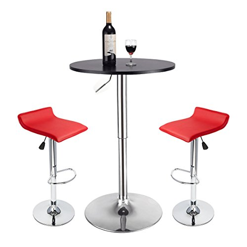 25' Square Stool - Youlite Pub Table Set 3 Pieces - Modern Swivel Adjustable Hydraulic Dining Chairs and Table Sets (Red 4)