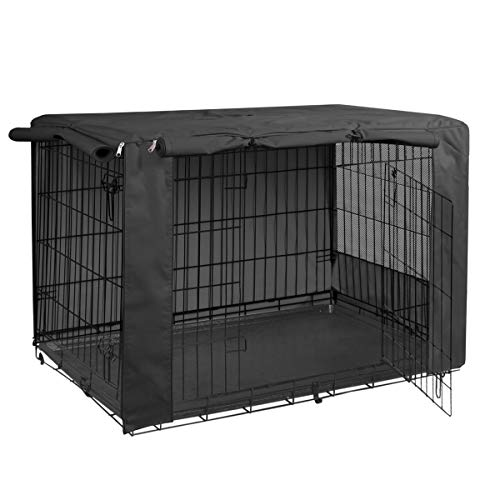 HiCaptain Folding Metal Dog Crate Cover for 48 Inch Wire Pet Cage (Black)