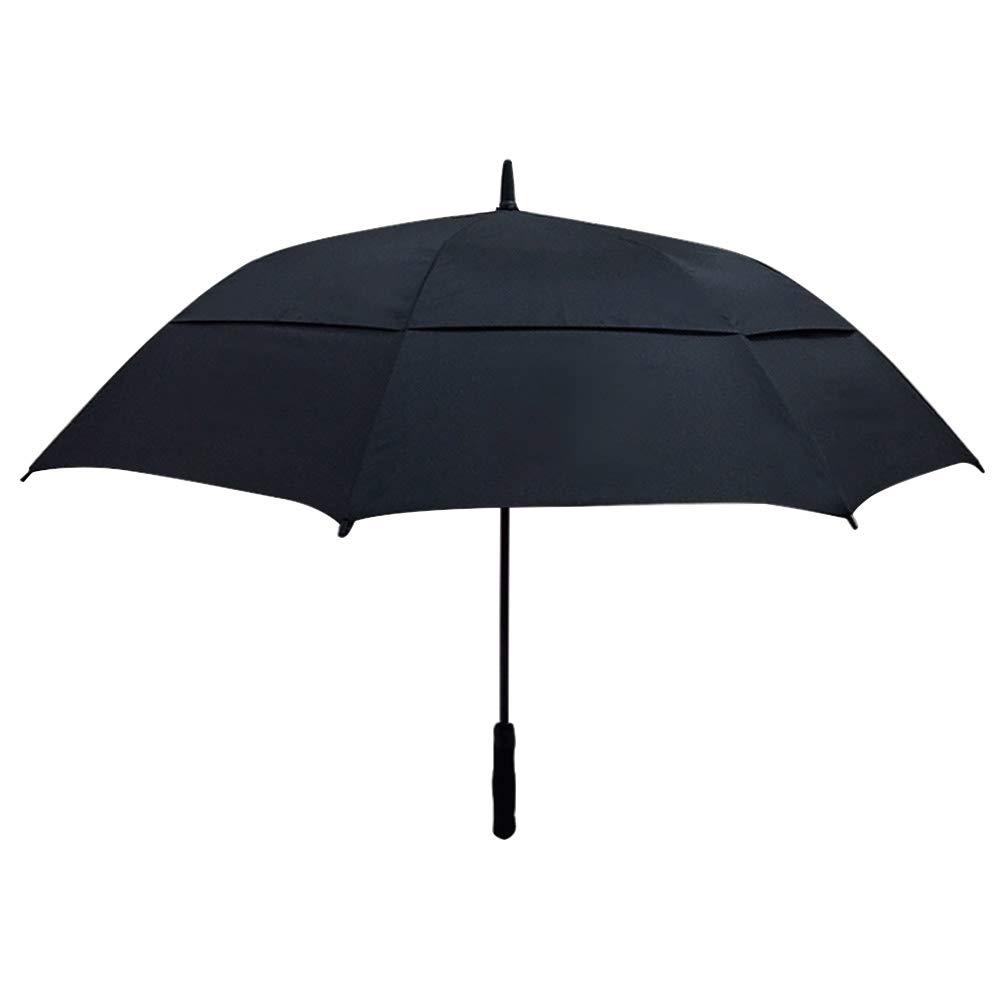 BHXUD 61インチ自動オープンゴルフ傘 特大ダブルキャノピー 通気性 防風 防水 スティック傘 ブラック 542-053-678 B07QHKFV21 ブラック