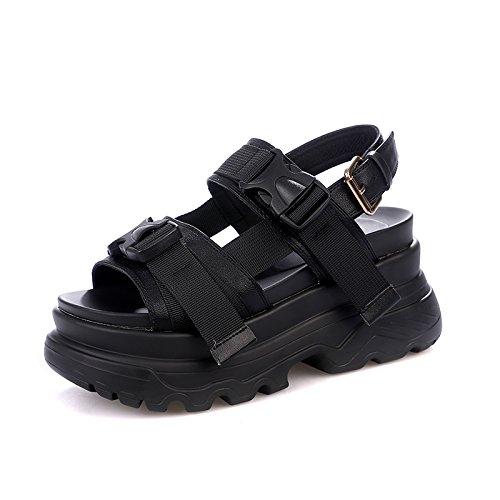 Plate Forme Femelle Étudiant Nouvelle Été Sandales noir Vintage Universel Sandales Chaussures QQWWEERRTT Mode Roman Unique Sport Épais zWUqpn8FE