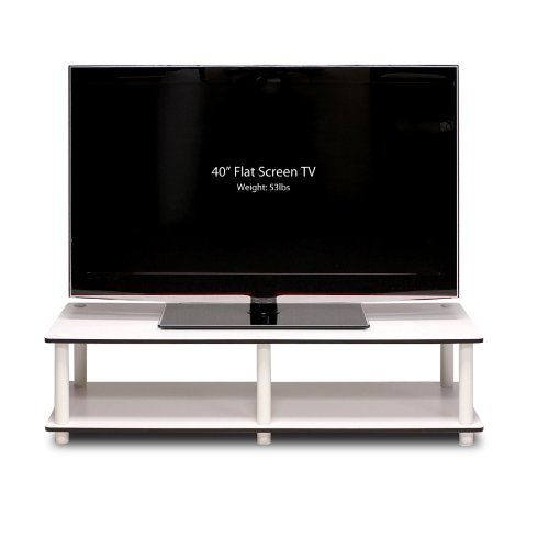 Furinno Just No Tools Wide TV Stand, White (Table Glass For Tv)