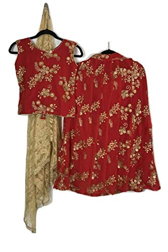 - Wedding/Party Wear Indian Kids Dress Girls Lehenga Choli Designer Embroidery Work on Georgette (Size 34 Fits 9-10 YR, Red)