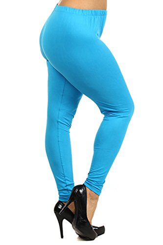 Always Women's Plus Size Solid Color Full Length Leggings One Size Turquoise