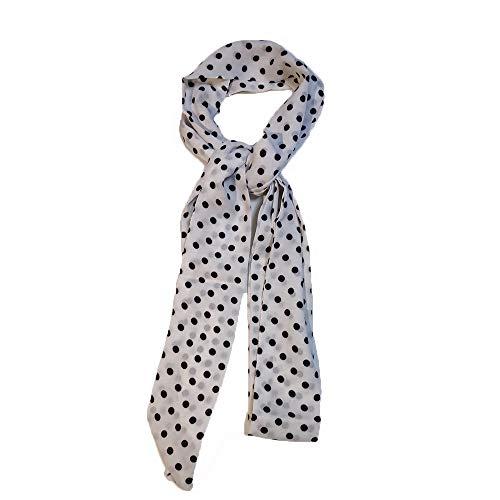 (Ladies Choker Skinny Scarf Womens Thin Long Neckscarf Tie Bow Chiffon 200cm (Black White polka dot))