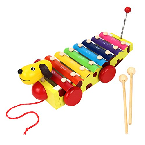Mochiglory 8 Music Scale Knock Piano Music Xylophone Toys Dog With Carillon Mallets Educational Beginner Instrument by Mochiglory