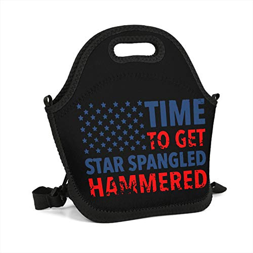 Custom Lunch Box Confederate Memorial Day time to get Star Spangled Resuable Insulated Thermal Tote Lunch Bag