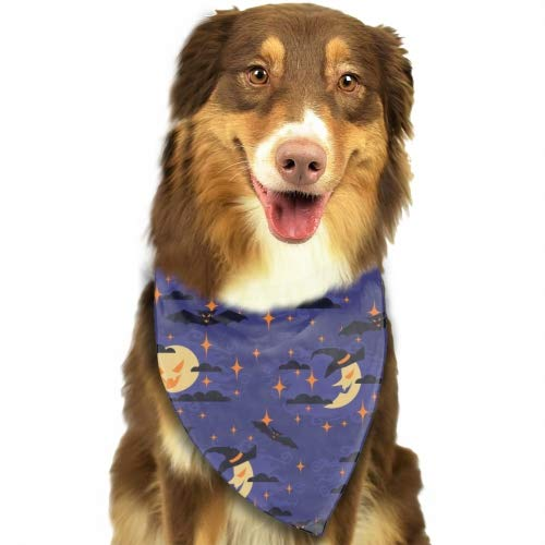 Rongx Good Night Halloween Fun Bright Color Snap-On Pet Dog Bandana Triangle Scarf Bibs - Accessories for Dogs, Puppy, Cats - Small/Medium Soft Polyester Bandanas ()