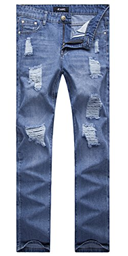 [Men's Vintage Blue Straight Fit Jeans Destroyed Distressed Denim Pants with Knee Rips 30] (Distressed Jeans Pants)
