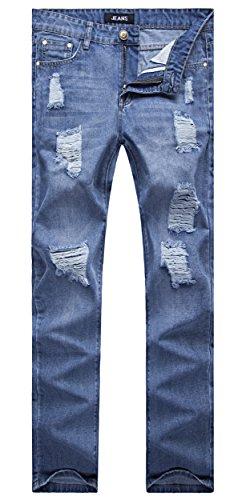 Men's Vintage Blue Straight Fit Jeans Destroyed Distressed Denim Pants with Knee Rips 28 from OKilr Pjik