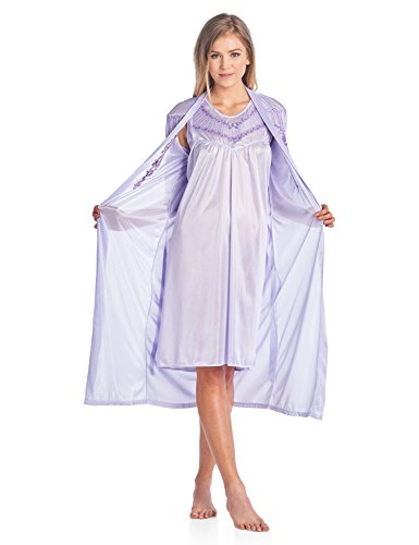 Casual Nights Women's Satin 2 Piece Robe and Nightgown Set - Embroidered Purple - X-Large