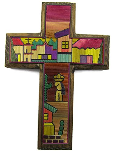 Popotillo Stained Straw & Wood Hand Crafted Small Cross