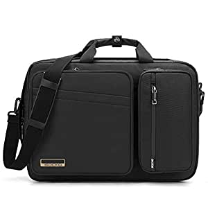 Convertible Laptop Bag Backpack,SOCKO Multi-functional Water Resistant Messenger Bag Briefcase Business Travel College Laptop Shoulder Bag for Men/Women Fits Up to 17.3 Inch Laptop Computers,Black