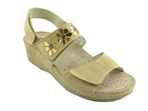 Donna Doppio Sandalo Comodo Melluso Q60090 E0277 Cappuccino Beige Stretch wq7fxtnxE