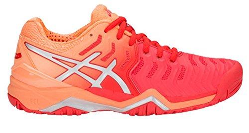 ASICS Womens Gel-Resolution 7 Tennis Shoe, Red Alert/Silver, Size 9.5