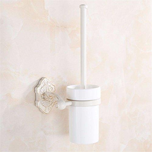 AiRobin-Continental White Baking Varnish White Gold Wall Mounted Toilet Brush Holder Bathroom Accessory