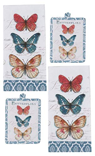 (Kay Dee Designs 4 Piece Butterfly Garden Kitchen Bundle - 2 Terry Towels and 2 Potholders)