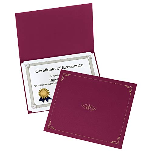 Oxford Certificate Holders, Burgundy, Letter Size, 25 Per Pack (299585) ()