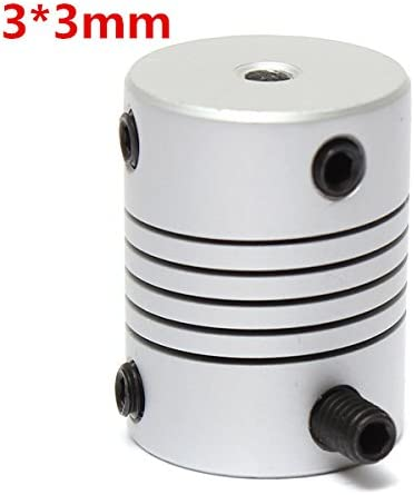Queenwind 3mm x 3mm アルミニウムフレキシブルシャフトカップリング OD19mm x L25mm CNC ステッピングモータカプラーコネクタ