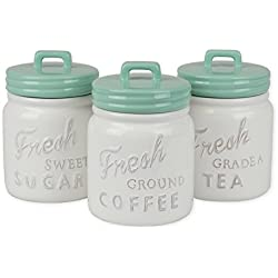 DII Everyday Classic Kitchen Design, 3-Piece Ceramic Canisters With Lid For Sugar, Coffee, & Tea - Aqua