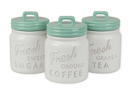 Kitchen Canisters With Lid For Sugar, Coffee, & Tea - Aqua