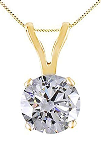 Jewel Zone US Natural Round Natural Diamond Solitaire Pendant Necklace 14K Solid Yellow Gold (1/3 Ct)