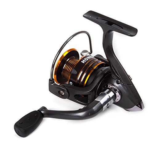 SUNVP Fishing Reels Spinning Freshwater Saltwater with 5.2:1 Gear Ratio 12+1BB Black Metal Body Left/right Interchangeable (Spin Left Handed Reel)