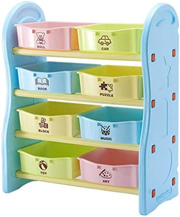 Kids bookshelf Furniture for children's rooms Graded layered bookcase Eco-friendly PE material Cultivate children's storage habits (Color: Blue Size: 76.5 36 90cm)