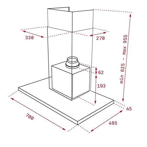 Campana 701 m/³//h, Canalizado//Recirculaci/ón, A, A, C, 69 dB Teka DLH 786 T 701 m/³//h De pared Negro Acero inoxidable A+
