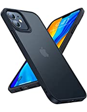 TORRAS Shockproof Case Compatible for iPhone 12 /Compatible with iPhone 12 Pro Case [Military Grade Drop Tested] Translucent Matte Hard PC Back with Soft Silicone Edge Slim Fit Protective Guardian, Black