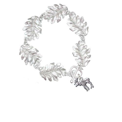 Silvertone Moose - Leaf Charm Bracelet