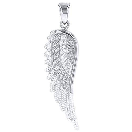 Solid 14k White Gold Textured Angel Wing Charm Pendant