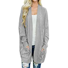 Shawhuwa Womens Plus Size Open Front Knit Long Cardigan Sweater With Pockets
