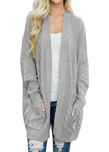 (Shawhuwa Womens Plus Size Open Front Knit Long Cardigan Sweater with Pockets M Grey)