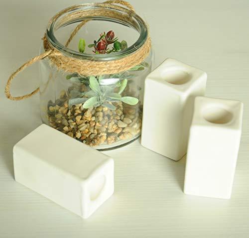 Magik Life Ceramic Candle Holder - Small Kitchen Decorations candlesticks Holders - Pillar Candle Holder - Decorative Candle Sticks - Tall Candle Holders 1 PCS (White)