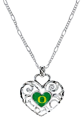 Licensed NCAA Oregon Ducks Collegiate Sports Team Logo Ivy Heart Shape Pendant W/Necklace (Gift Box Included) ()