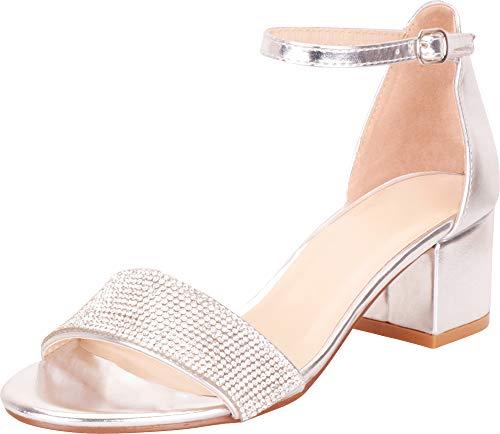 Cambridge Select Women's Single Band Ankle Strap Crystal Rhinestone Chunky Block Low Heel Sandal,10 B(M) US,Silver PU ()