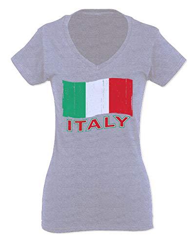 (Italia Distressed Italy Flag Italian National Flag Vintage for Women V Neck Fitted T Shirt (Light Gray Medium))