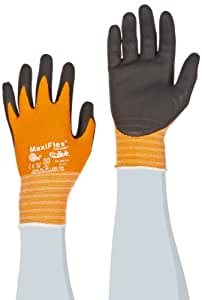 ATG 34-8014/S MaxiFoam Ultimate Seamless Knit Nylon Liner Gloves with Micro-Foam Nitrile Coated Palm, Black/Orange, Small, 1-Dozen