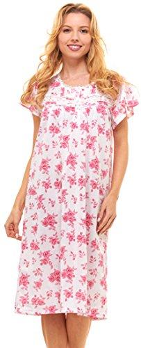 (Floopi Womens Nightgown Sleepwear Cotton Pajamas - Womans Short Sleeve Sleep Dress Nightshirt (XL, Pink-00120))