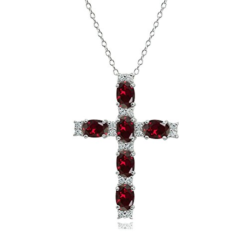 Sterling Silver Created Ruby Oval-Cut Cross Pendant Necklace with White Topaz Accents