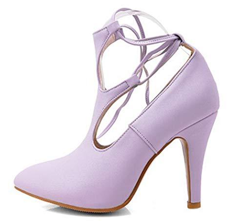 Stiletto Femme Escarpins Bout Banquet Sexy Violet Fermeture Aisun Pointu Lacets À cZwHf0SfzT
