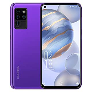 "Oukitel C21 Unlocked Cell Phones - 6.4"" FHD+ Hole Punch Screen High Capacity Battery Smartphone with 20MP AI Quad Camera, Android 10 and Dual 4G Volte(neon Purple)"