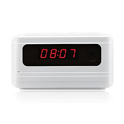 icemoon Hidden Camera Alarm Clock Security camera HD Motion Activated Nanny Spy Camera (White) from icemoon