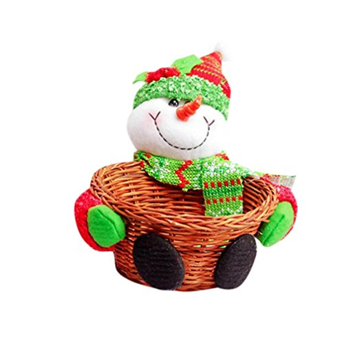 Christmas Basket Clearance! Paymenow Candy Fruit Storage Basket Santa Claus Holidays Christmas Gift Home Decoration (A)
