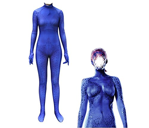 HOODIE FREE Mystique Costume Lycra Spandex Zentai Halloween Womens (Adult-M(Height 155-160cm))