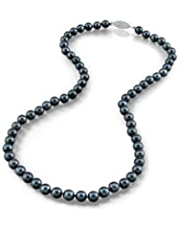 14K Gold 6.0-6.5mm Japanese Akoya Black Cultured Pearl Necklace - AA+ Quality, 18 Inch Princess Length