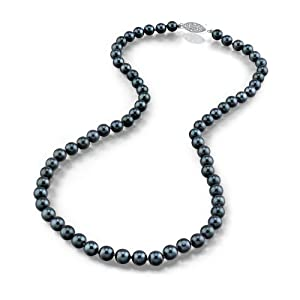 """14K Gold Black Akoya Cultured Pearl Necklace - AA+ Quality, 18"""" Princess Length"""