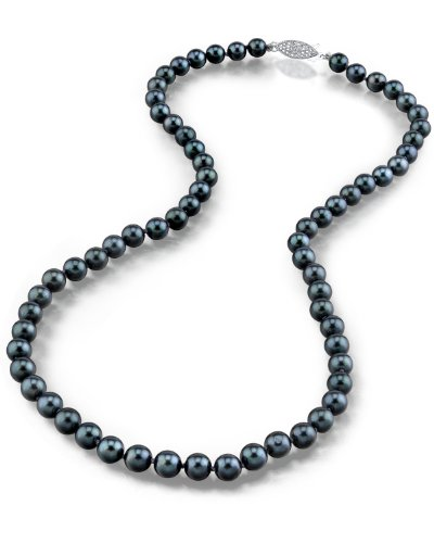 THE PEARL SOURCE 14K Gold 7.5-8.0mm Round Genuine Black Japanese Akoya Saltwater Cultured Pearl Necklace in 18