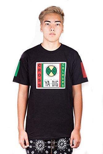 (Cross Colours Originals Label Logo Graphic T Shirt (Large, Black) )