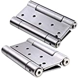 MATEE 2-Pack 5-In Stainless Steel Full Mortise Self Closing Double Action Spring Door Hinge For Aisle Door With Matching Screws Included